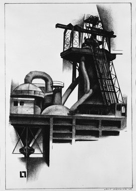 Louis Lozowick (American, born Russia, 1892-1973). <em>Corner of Steel Plant</em>, 1929. Lithograph on white wove paper, Sheet: 15 3/4 x 11 1/8 in. (40 x 28.3 cm). Brooklyn Museum, Gift of Erhart Weyhe, 56.4.38. © artist or artist's estate (Photo: Brooklyn Museum, 56.4.38_bw.jpg)