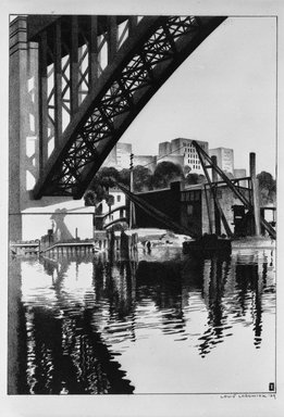 Louis Lozowick (American, born Russia, 1892-1973). <em>High Bridge</em>, 1929. Lithograph on white wove paper, Sheet: 16 3/4 x 11 3/8 in. (42.5 x 28.9 cm). Brooklyn Museum, Gift of Erhart Weyhe, 56.4.39. © artist or artist's estate (Photo: Brooklyn Museum, 56.4.39_bw.jpg)