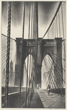 Louis Lozowick (American, born Russia, 1892-1973). <em>Brooklyn Bridge</em>, 1930. Lithograph on white wove paper, Sheet: 15 13/16 x 11 1/2 in. (40.2 x 29.2 cm). Brooklyn Museum, Gift of Erhart Weyhe, 56.4.41. © artist or artist's estate (Photo: Brooklyn Museum, 56.4.41_PS1.jpg)