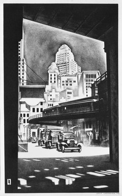Louis Lozowick (American, born Russia, 1892-1973). <em>Hanover Square</em>, 1929. Lithograph on white wove paper, Sheet: 19 1/16 x 13 1/4 in. (48.4 x 33.7 cm). Brooklyn Museum, Gift of Erhart Weyhe, 56.4.43. © artist or artist's estate (Photo: Brooklyn Museum, 56.4.43_bw.jpg)