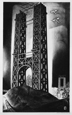 Louis Lozowick (American, born Russia, 1892-1973). <em>Hudson Bridge  (George Washington Bridge)</em>, 1929. Lithograph on cream, moderately thick, moderately textured wove paper, Sheet: 15 7/8 x 11 1/2 in. (40.3 x 29.2 cm). Brooklyn Museum, Gift of Erhart Weyhe, 56.4.45. © artist or artist's estate (Photo: Brooklyn Museum, 56.4.45_bw.jpg)