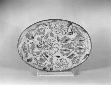 American. <em>Dish</em>, 19th century. Earthenware, 2 1/4 x 15 3/4 in. (5.7 x 40 cm). Brooklyn Museum, Gift of Huldah Cail Lorimer in memory of George Burford Lorimer, 56.5.15. Creative Commons-BY (Photo: Brooklyn Museum, 56.5.15_acetate_bw.jpg)