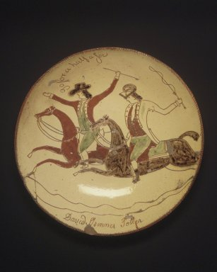 David Spinner (American, 1758-1811). <em>Pie Plate</em>, ca. 1800. Glazed earthenware, Height: 2 in.  (5.1 cm);. Brooklyn Museum, Gift of Huldah Cail Lorimer in memory of George Burford Lorimer, 56.5.8. Creative Commons-BY (Photo: Brooklyn Museum, 56.5.8.jpg)
