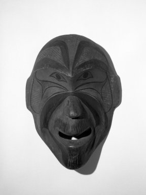 Eskimo. <em>Mask</em>. Wood, pigment, 12 5/16 x 8 3/4 in.  (31.2 x 22.3 cm). Brooklyn Museum, Gift of Arturo and Paul Peralta-Ramos, 56.6.1. Creative Commons-BY (Photo: Brooklyn Museum, 56.6.1_bw.jpg)