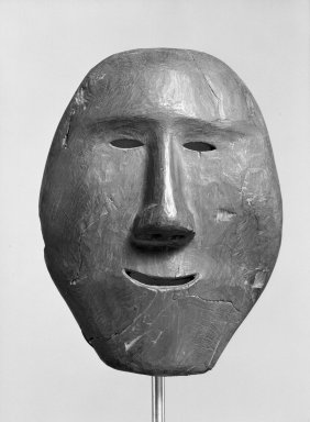 Eskimo. <em>Mask</em>. Wood, 9 3/4 x 7 1/2 x 3 1/2in. (24.8 x 19.1 x 8.9cm). Brooklyn Museum, Gift of Arturo and Paul Peralta-Ramos, 56.6.27. Creative Commons-BY (Photo: Brooklyn Museum, 56.6.27_acetate_bw.jpg)