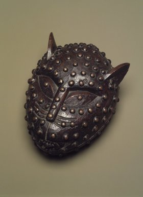 Edo. <em>Box in the Form of a Leopard's Head</em>, 19th century. Wood and upholstery studs, 6 11/16 × 5 5/16 × 4 1/4 in. (17 × 13.5 × 10.8 cm). Brooklyn Museum, Gift of Arturo and Paul Peralta-Ramos, 56.6.31a-b. Creative Commons-BY (Photo: Brooklyn Museum, 56.6.31a-b.jpg)