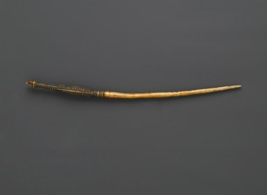 Mangbetu. <em>Awl or Hair Ornament</em>, late 19th or early 20th century. Ivory,  copper, 9 1/16in. (23cm). Brooklyn Museum, Gift of Arturo and Paul Peralta-Ramos, 56.6.53. Creative Commons-BY (Photo: Brooklyn Museum, 56.6.53_PS6.jpg)