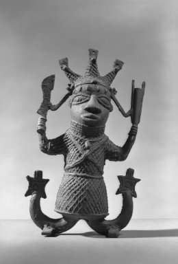 Edo. <em>Human Figure with Mudfish legs</em>, 19th or 20th century. Copper alloy, 10 1/16 × 6 1/8 in. (25.5 × 15.5 cm). Brooklyn Museum, Gift of Arturo and Paul Peralta-Ramos, 56.6.72. Creative Commons-BY (Photo: Brooklyn Museum, 56.6.72_acetate_bw.jpg)