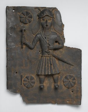 Edo. <em>Plaque</em>, 16th or 17th century. Copper alloy, 19 13/16 x 15 9/16 x 2 1/2 in. (50.3 x 39.5 x 6.4 cm). Brooklyn Museum, Gift of Arturo and Paul Peralta-Ramos, 56.6.74. Creative Commons-BY (Photo: Brooklyn Museum, 56.6.74_PS2.jpg)
