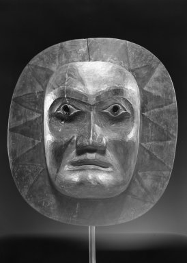 Possibly Gwa'sala Kwakwaka'wakw. <em>Man in the Moon Mask</em>. Wood, pigment, 11 3/4 x 10 1/2in. (29.8 x 26.7cm). Brooklyn Museum, Gift of Arturo and Paul Peralta-Ramos, 56.6.9. Creative Commons-BY (Photo: Brooklyn Museum, 56.6.9_acetate_bw.jpg)