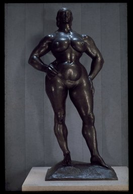 Gaston Lachaise (American, born France, 1882-1935). <em>Standing Woman</em>, 1955-1956. Bronze, 88 1/2 x 44 3/8 x 24 11/16 in. (224.8 x 112.7 x 62.7 cm). Brooklyn Museum, Frank Sherman Benson Fund, A. Augustus Healy Fund, Alfred T. White Fund, and Museum Collection Fund, 56.69. © artist or artist's estate (Photo: Brooklyn Museum, 56.69_reference_SL3.jpg)
