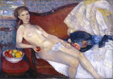 William Glackens (American, 1870-1938). <em>Girl with Apple</em>, 1909-1910. Oil on canvas, 39 7/16 x 56 3/16 in. (100.2 x 142.7 cm). Brooklyn Museum, Dick S. Ramsay Fund, 56.70 (Photo: Brooklyn Museum, 56.70_SL1.jpg)