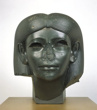 <em>Head from a Female Sphinx</em>, ca. 1876-1842 B.C.E. Chlorite, 15 5/16 x 13 1/8 x 13 15/16 in., 124.5 lb. (38.9 x 33.3 x 35.4 cm, 56.47kg). Brooklyn Museum, Charles Edwin Wilbour Fund, 56.85. Creative Commons-BY (Photo: Brooklyn Museum, 56.85_front_SL1.jpg)