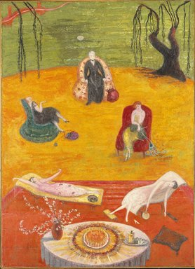 Florine Stettheimer (American, 1871-1944). <em>Heat</em>, 1919. Oil on canvas, 50 x 36 1/2in. (127 x 92.7cm). Brooklyn Museum, Gift of the Estate of Ettie Stettheimer, 57.125 (Photo: Brooklyn Museum, 57.125_SL1.jpg)