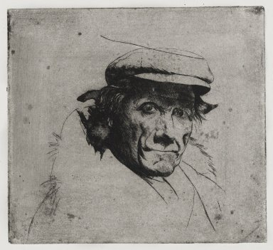 Joseph Stella (American, born Italy, 1877-1946). <em>Man with Cap</em>, 1957. Etching on paper, Sheet: 10 9/16 x 10 9/16 in. (26.8 x 26.8 cm). Brooklyn Museum, Gift of Nathan Krueger, 57.126.2 (Photo: Brooklyn Museum, 57.126.2_PS4.jpg)