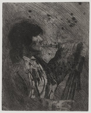 Joseph Stella (American, born Italy, 1877-1946). <em>Man Playing Bagpipes</em>, 1957. Etching Brooklyn Museum, Gift of Nathan Krueger, 57.126.4 (Photo: Brooklyn Museum, 57.126.4_PS4.jpg)