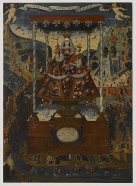 Cuzco School. <em>Our Lady of Cocharcas Under the Baldachin</em>, 1765. Oil on canvas, 78 1/4 x 56 1/2in. (198.8 x 143.5cm). Brooklyn Museum, Bequest of Mary T. Cockcroft, by exchange, 57.144 (Photo: Brooklyn Museum, 57.144_PS6.jpg)