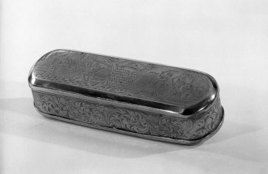 <em>Rectangular Tabacco Box</em>, ca.1700. Brass, 1 3/16 x 6 3/8 x 2 1/4 in. (3 x 16.2 x 5.7 cm). Brooklyn Museum, Gift of C. G. Mourraille, 57.169.12. Creative Commons-BY (Photo: Brooklyn Museum, 57.169.12_acetate_bw.jpg)