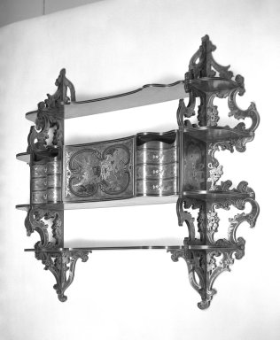 <em>Hanging Wall Cabinet</em>, mid-nineteenth century. Mahogany, brass, 45 5/8 x 49 1/4 x 10 in. (115.9 x 125.1 x 25.4 cm). Brooklyn Museum, Gift of Mrs. John de Menil, 57.179. Creative Commons-BY (Photo: Brooklyn Museum, 57.179_bw.jpg)