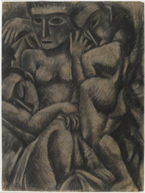 Max Weber (American, born Russia, 1881-1961). <em>Composition with Four Figures</em>, 1910. Charcoal and pastel on moderately thick, moderately textured laid paper, Sheet: 24 1/4 x 18 1/4 in. (61.6 x 46.4 cm). Brooklyn Museum, Dick S. Ramsay Fund, 57.17 (Photo: Brooklyn Museum, 57.17_PS6.jpg)