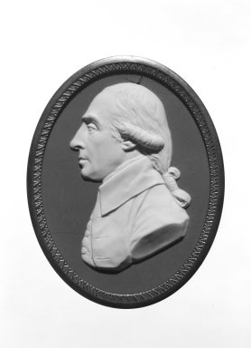 <em>Portrait Oval Medallion</em>, ca. 1790. Jasperware, 3 1/2 x 5 5/8 in. (8.9 x 14.3 cm). Brooklyn Museum, Gift of Emily Winthrop Miles, 57.180.116. Creative Commons-BY (Photo: Brooklyn Museum, 57.180.116_bw.jpg)
