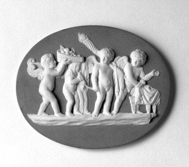 <em>Medallion</em>, ca. 1778. Jasperware Brooklyn Museum, Gift of Emily Winthrop Miles, 57.180.59. Creative Commons-BY (Photo: Brooklyn Museum, 57.180.59_bw.jpg)