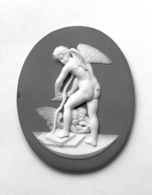 Wedgwood & Bentley (1768-1780). <em>Medallion, Cupid Shaving His Bow</em>, ca. 1775. Jasperware, 3 1/4  x 2 5/8 in. Brooklyn Museum, Gift of Emily Winthrop Miles, 57.180.60. Creative Commons-BY (Photo: Brooklyn Museum, 57.180.60_bw.jpg)