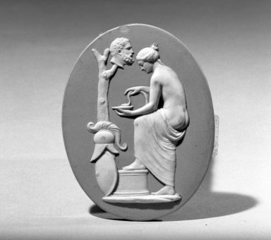 <em>Classical Oavl Medallion</em>. Jasperware Brooklyn Museum, Gift of Emily Winthrop Miles, 57.180.65. Creative Commons-BY (Photo: Brooklyn Museum, 57.180.65_acetate_bw.jpg)