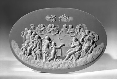 <em>Lateral Oval Plaque</em>, ca. 1800. Jasperware Brooklyn Museum, Gift of Emily Winthrop Miles, 57.180.84. Creative Commons-BY (Photo: Brooklyn Museum, 57.180.84_view1_acetate_bw.jpg)