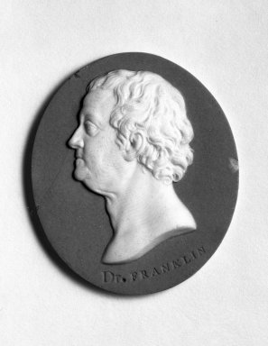 <em>Portrait Medallion</em>, ca. 1775-1780. Jasperware, 2 1/4 x 1 7/8 in. Brooklyn Museum, Gift of Emily Winthrop Miles, 57.180.89. Creative Commons-BY (Photo: Brooklyn Museum, 57.180.89_bw.jpg)