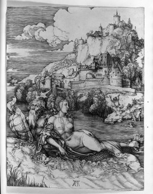 Albrecht Dürer (German, 1471-1528). <em>The Sea Monster</em>, 1500. Engraving on laid paper, 9 7/8 x 7 3/8 in. (25.1 x 18.7 cm). Brooklyn Museum, Gift of Mrs. Charles Pratt, 57.188.10 (Photo: Brooklyn Museum, 57.188.10_acetate_bw.jpg)