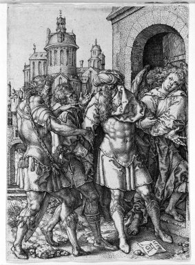 Heinrich Aldegrever (German, 1502 -ca.1555). <em>Lot Protecting the Angels from the Inhabitants of Sodom</em>, 1555. Engraving on laid paper, 4 1/2 x 3 1/4 in. (11.5 x 8.2 cm). Brooklyn Museum, Gift of Mrs. Charles Pratt, 57.188.1 (Photo: Brooklyn Museum, 57.188.1_acetate_bw.jpg)