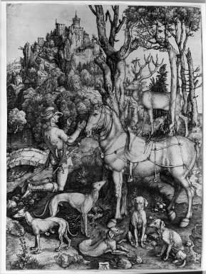 Albrecht Dürer (German, 1471-1528). <em>St. Eustace</em>, 1561. Etching on laid paper, 14 1/8 x 10 1/4 in. (35.8 x 26 cm). Brooklyn Museum, Gift of Mrs. Charles Pratt, 57.188.22 (Photo: Brooklyn Museum, 57.188.22_acetate_bw.jpg)
