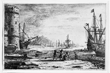 Claude Gellée called Claude Lorrain (French, ca. 1604-1682). <em>Le Port de La Mer a La Grosse Tour</em>. Etching Brooklyn Museum, Gift of Mrs. Charles Pratt, 57.188.24 (Photo: Brooklyn Museum, 57.188.24_bw.jpg)