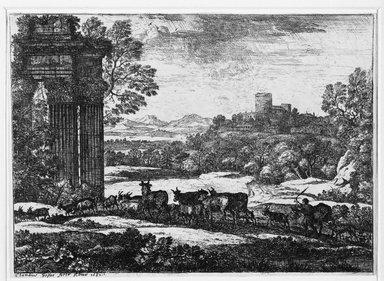 Claude Gellée called Claude Lorrain (French, ca. 1604-1682). <em>Le Troupeau en Marche</em>, 1651. Etching Brooklyn Museum, Gift of Mrs. Charles Pratt, 57.188.25 (Photo: Brooklyn Museum, 57.188.25_bw.jpg)