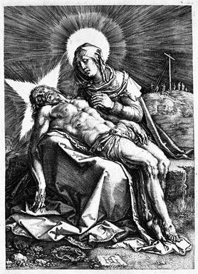Hendrick Goltzius (Dutch, 1558-1617). <em>Pieta</em>, 1596. Engraving on laid paper, 7 5/16 x 5 in. (18.6 x 12.7 cm). Brooklyn Museum, Gift of Mrs. Charles Pratt, 57.188.26 (Photo: Brooklyn Museum, 57.188.26_bw.jpg)