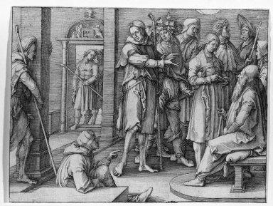 Lucas van Leyden (Dutch, 1494-1533). <em>Joseph Relating His Dream</em>, 1512. Engraving on laid paper, 6 9/16 x 4 15/16 in. (16.7 x 12.5 cm). Brooklyn Museum, Gift of Mrs. Charles Pratt, 57.188.27 (Photo: Brooklyn Museum, 57.188.27_acetate_bw.jpg)