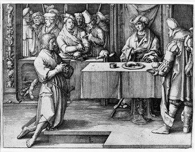 Lucas van Leyden (Dutch, 1494-1533). <em>Joseph Interpreting Pharoah's Dream</em>, 1512. Engraving on laid paper, 4 15/16 x 6 9/16 in. (12.6 x 16.6 cm). Brooklyn Museum, Gift of Mrs. Charles Pratt, 57.188.29 (Photo: Brooklyn Museum, 57.188.29_bw.jpg)