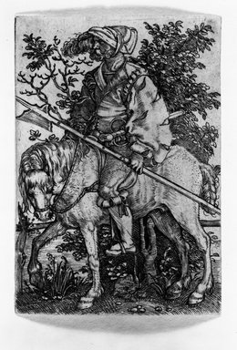 Barthel Beham (German, 1502-1540). <em>A Soldier on Horseback</em>. Engraving Brooklyn Museum, Gift of Mrs. Charles Pratt, 57.188.2 (Photo: Brooklyn Museum, 57.188.2_bw.jpg)