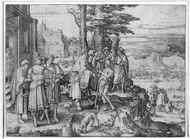 Lucas van Leyden (Dutch, 1494-1533). <em>The Prodigal Son</em>, 1510. Engraving on laid paper, 7 1/16 x 9 11/16 in. (18 x 24.6 cm). Brooklyn Museum, Gift of Mrs. Charles Pratt, 57.188.30 (Photo: Brooklyn Museum, 57.188.30_acetate_bw.jpg)