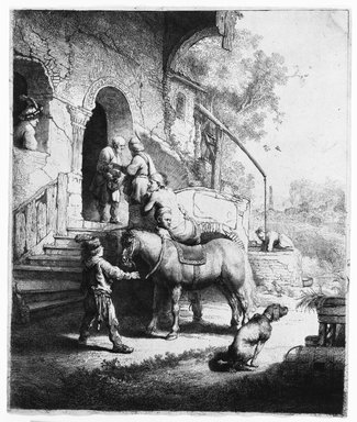 Rembrandt Harmensz. van Rijn (Dutch, 1606-1669). <em>The Good Samaritan</em>, 1633. Etching and burin on laid paper, Plate: 9 5/8 x 8 1/16 in. (24.4 x 20.5 cm). Brooklyn Museum, Gift of Mrs. Charles Pratt, 57.188.45 (Photo: Brooklyn Museum, 57.188.45_bw.jpg)