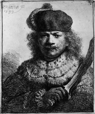 Rembrandt Harmensz. van Rijn (Dutch, 1606-1669). <em>Self-Portrait with Raised Sabre</em>, 1634. Etching on laid paper, Plate: 4 3/4 x 4 in. (12.1 x 10.2 cm). Brooklyn Museum, Gift of Mrs. Charles Pratt, 57.188.47 (Photo: Brooklyn Museum, 57.188.47_bw.jpg)