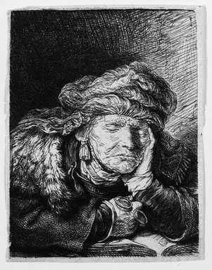 Rembrandt Harmensz. van Rijn (Dutch, 1606-1669). <em>Old Woman Sleeping</em>, ca. 1635/1637. Etching on laid paper, Plate: 2 3/4 x 2 1/8 in. (7 x 5.4 cm). Brooklyn Museum, Gift of Mrs. Charles Pratt, 57.188.50 (Photo: Brooklyn Museum, 57.188.50_bw.jpg)