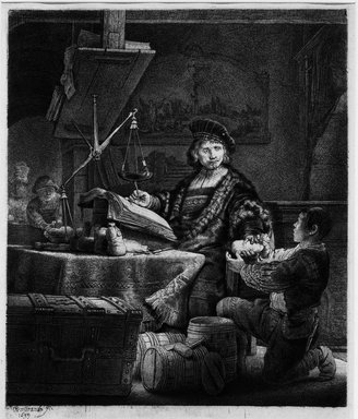 Rembrandt Harmensz. van Rijn (Dutch, 1606-1669). <em>Jan Uytenbogaert, Receiver - General (The Gold - Weigher)</em>, 1639. Etching and drypoint on cream wove paper, Plate: 9 7/8 x 8 in. (25.1 x 20.3 cm). Brooklyn Museum, Gift of Mrs. Charles Pratt, 57.188.51 (Photo: Brooklyn Museum, 57.188.51_bw.jpg)