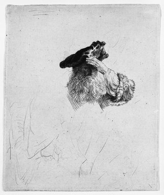 Rembrandt Harmensz. van Rijn (Dutch, 1606-1669). <em>Old Man Shading His Eyes with His Hand</em>, ca. 1639. Etching and drypoint on laid paper, Plate: 5 1/2 x 4 5/8 in. (14 x 11.7 cm). Brooklyn Museum, Gift of Mrs. Charles Pratt, 57.188.52 (Photo: Brooklyn Museum, 57.188.52_bw.jpg)