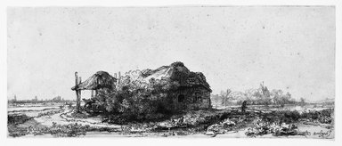 Rembrandt Harmensz. van Rijn (Dutch, 1606-1669). <em>Landscape with a Cottage and Hay Barn</em>, 1641. Etching on laid paper, Plate: 5 3/16 x 12 11/16 in. (13.2 x 32.2 cm). Brooklyn Museum, Gift of Mrs. Charles Pratt, 57.188.53 (Photo: Brooklyn Museum, 57.188.53_bw.jpg)