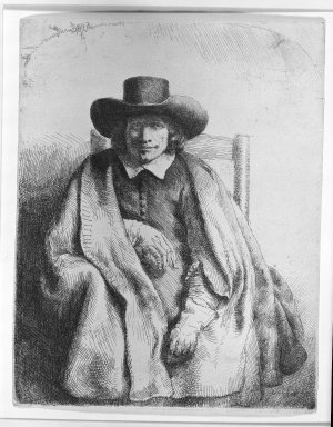 Rembrandt Harmensz. van Rijn (Dutch, 1606-1669). <em>Clement de Jonghe, Printseller</em>, 1651. Etching on laid paper, 8 1/4 x 6 7/16 in. (20.9 x 16.4 cm). Brooklyn Museum, Gift of Mrs. Charles Pratt, 57.188.58 (Photo: Brooklyn Museum, 57.188.58_acetate_bw.jpg)
