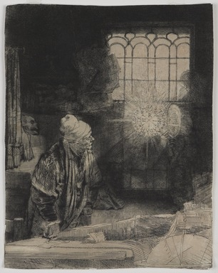 Rembrandt Harmensz. van Rijn (Dutch, 1606-1669). <em>Faust in His Study, Watching a Magic Disc</em>, ca. 1652. Etching and drypoint on Eastern laid paper, image: 8 × 6 5/16 in. (20.3 × 16 cm). Brooklyn Museum, Gift of Mrs. Charles Pratt, 57.188.59 (Photo: , 57.188.59_PS9.jpg)