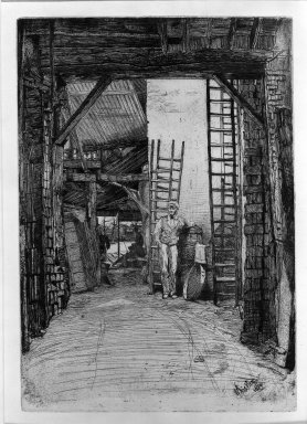 James Abbott McNeill Whistler (American, 1834-1903). <em>The Lime Burner</em>, 1859. Etching on paper, Image: 9 7/8 x 6 7/8 in. (25.1 x 17.5 cm). Brooklyn Museum, Gift of Mrs. Charles Pratt, 57.188.63 (Photo: Brooklyn Museum, 57.188.63_acetate_bw.jpg)