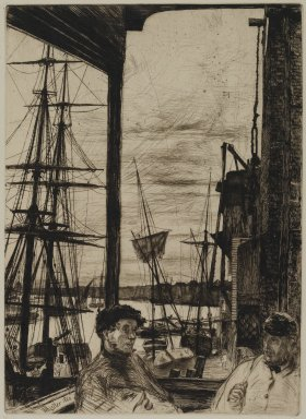 James Abbott McNeill Whistler (American, 1834-1903). <em>Rotherhite</em>, 1860. Etching on paper, Image: 10 11/16 x 7 3/4 in. (27.1 x 19.7 cm). Brooklyn Museum, Gift of Mrs. Charles Pratt, 57.188.65 (Photo: Brooklyn Museum, 57.188.65_PS2.jpg)